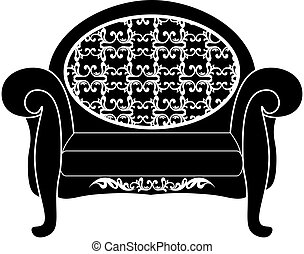 Rich carved ornaments furniture - Vintage sofa Vector. Rich...