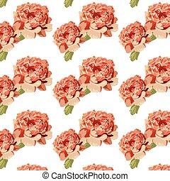 Peony pink flowers pattern