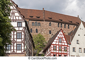 Houses from the middle ages - Partial view of houses from...