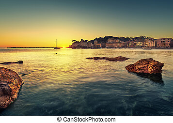 Sestri Levante, silence bay rocks, sea and beach view on...