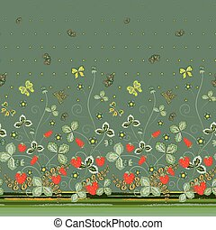 Vertical Seamless spring dark floral pattern with red strawberries and dark green flowers and green butterflies