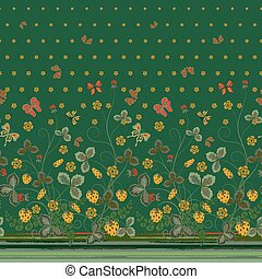 Vertical Seamless spring dark floral pattern with orange strawberries and flowers and red butterflies on dark green background