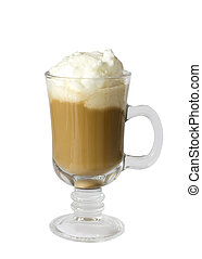 Coffee latte with wipped cream isolated on white background