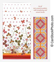 Set of Bright vertical seamless pattern with a orange brown strawberry, leaves flowers and butterfly on white background also ornate border (ribbon tape band edging )