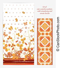 Set of Bright vertical seamless pattern with a orange strawberry, leaves flowers and butterfly on white background also ornate border (ribbon tape band edging )