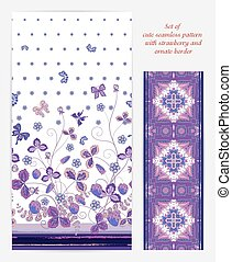 Set of Bright vertical seamless pattern with a violet strawberry, leaves flowers and butterfly on white background also ornate border (ribbon tape band edging )