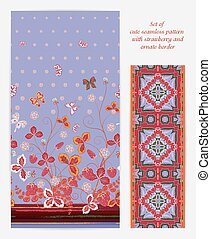 Set of  vertical seamless spring violet floral pattern with red strawberries, butterflies and flowers also ornate border (ribbon tape band edging )