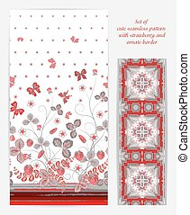 Set of Bright vertical seamless pattern with a red gray strawberry, leaves flowers and butterfly on white background also ornate border (ribbon tape band edging )