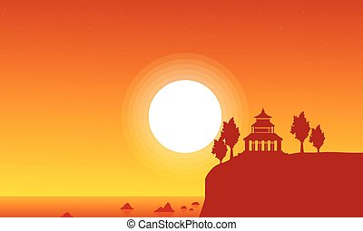 Silhouette of pavilion on seaside scenery