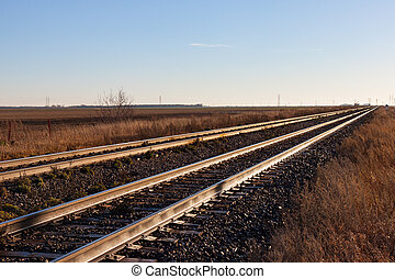Two Pairs of Tracks Stretching Off to the Horizon - Two...