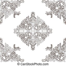 Vintage Baroque ornament floral pattern. Vector Retro...