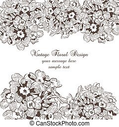 Autumn Vintage flowers card. Festive Postcard for weddings, ceremony, events. Hand drawn engraved technique