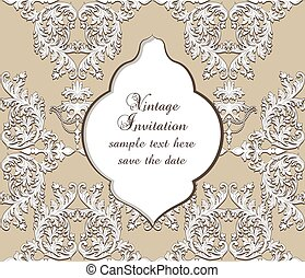 Vintage Damask Baroque Invitation Card with ornamented...