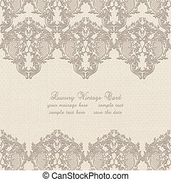 Vector Damask Lace Invitation card with ornaments - Vector...