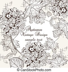 Autumn background with flowers and leaves. Vector fall...