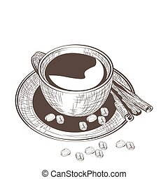 Cup of coffee with fresh beans