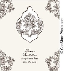 Vintage Card Damask Baroque pattern - Vintage Card Cover...