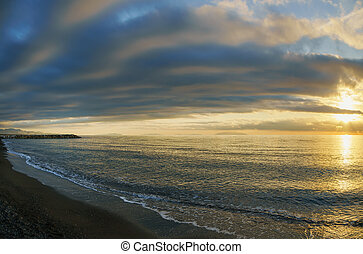 Maremma beach coast and Elba island on horizon. Cecina,...