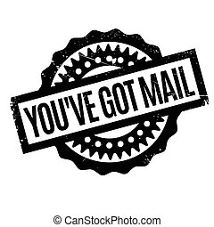 You have Got Mail rubber stamp. Grunge design with dust...