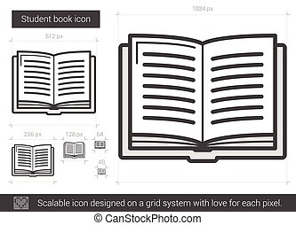 Student book line icon. - Student book vector line icon...
