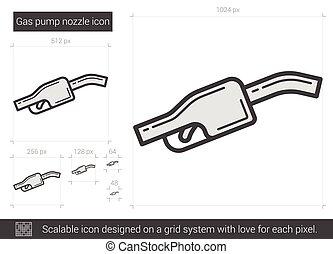Gas pump nozzle line icon. - Gas pump nozzle vector line...