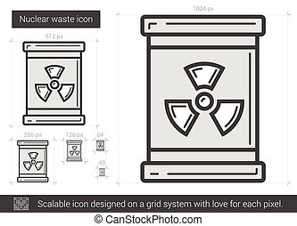 Nuclear waste line icon. - Nuclear waste vector line icon...
