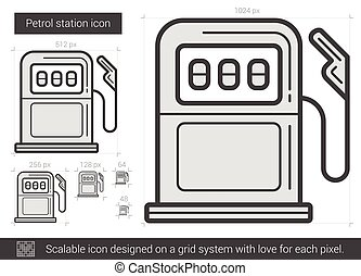Petrol station line icon. - Petrol station vector line icon...