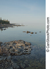 Calm Lake Huron Shore - Dead calm afternoon image of clear...