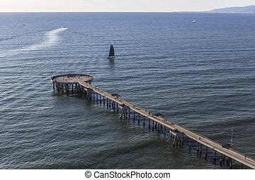Aerial of Venice Pier in Los Angeles California