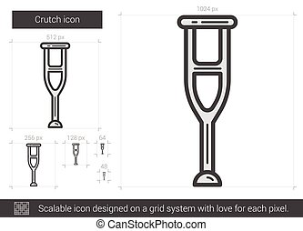 Crutch line icon. - Crutch vector line icon isolated on...