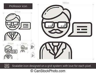 Professor line icon. - Professor vector line icon isolated...