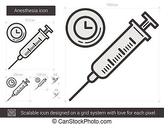 Anesthesia line icon. - Anesthesia vector line icon isolated...
