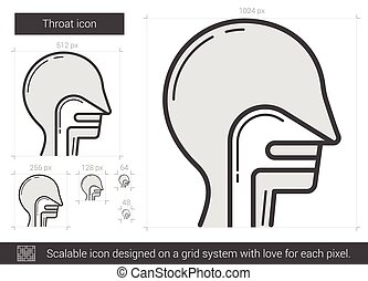 Throat line icon. - Throat vector line icon isolated on...