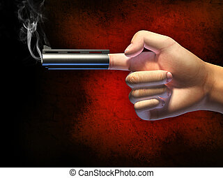 Hand gun - Hand in a typical gun gesture, shooting from its...