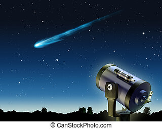 Comet - A comet travelling through earths atmosphere Digital...