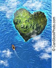 Heart island - Small rowboat heading to an heart shaped...
