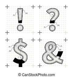 Architectural sketches of special chars letters. Blueprint...
