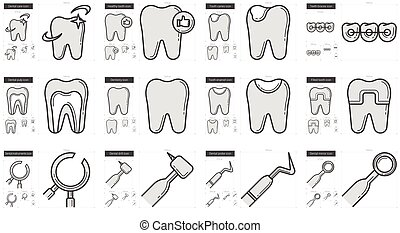 Stomatology line icon set. - Stomatology vector line icon...