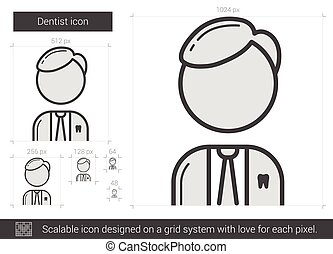 Dentist line icon. - Dentist vector line icon isolated on...