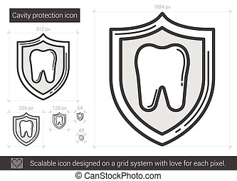 Cavity protection line icon. - Cavity protection vector line...