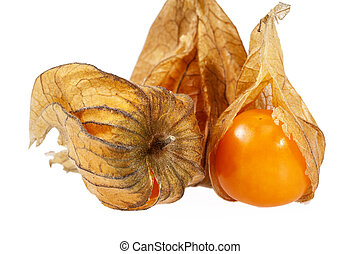 Fruits Physalis ( Physalis peruviana) isolated on white...