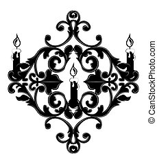 Classic Baroque style wall lamp on white background. Luxury...