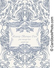 Vector Vintage Lace Invitation card with floral acanthus...