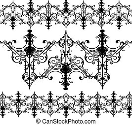 Vintage Gothic ornament pattern elements. Vector intricate...