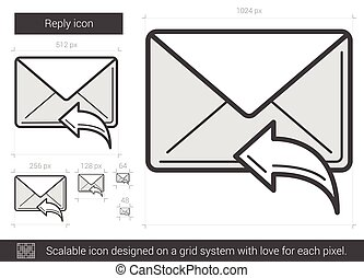 Reply line icon. - Reply vector line icon isolated on white...