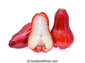 fatia, maçã,  rosÈ, isolado, fundo, fresco, branca