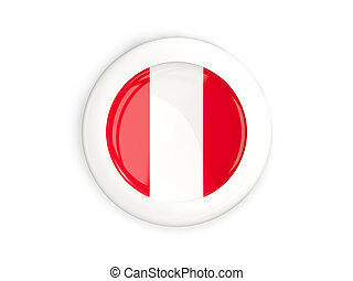 Flag of peru, glossy round button with white frame isolated...