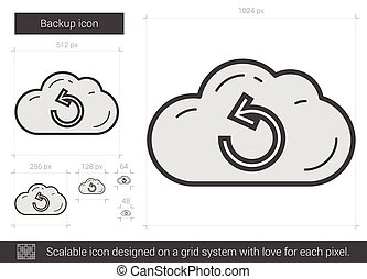 Backup line icon. - Backup vector line icon isolated on...