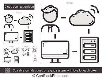 Cloud connection line icon. - Cloud connection vector line...
