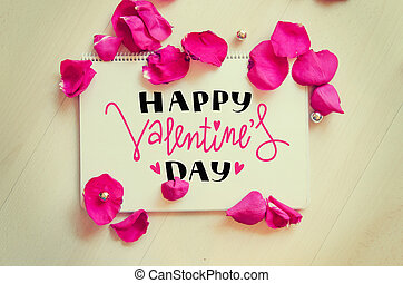 St Valentine's Day vintage composition of greeting note with...